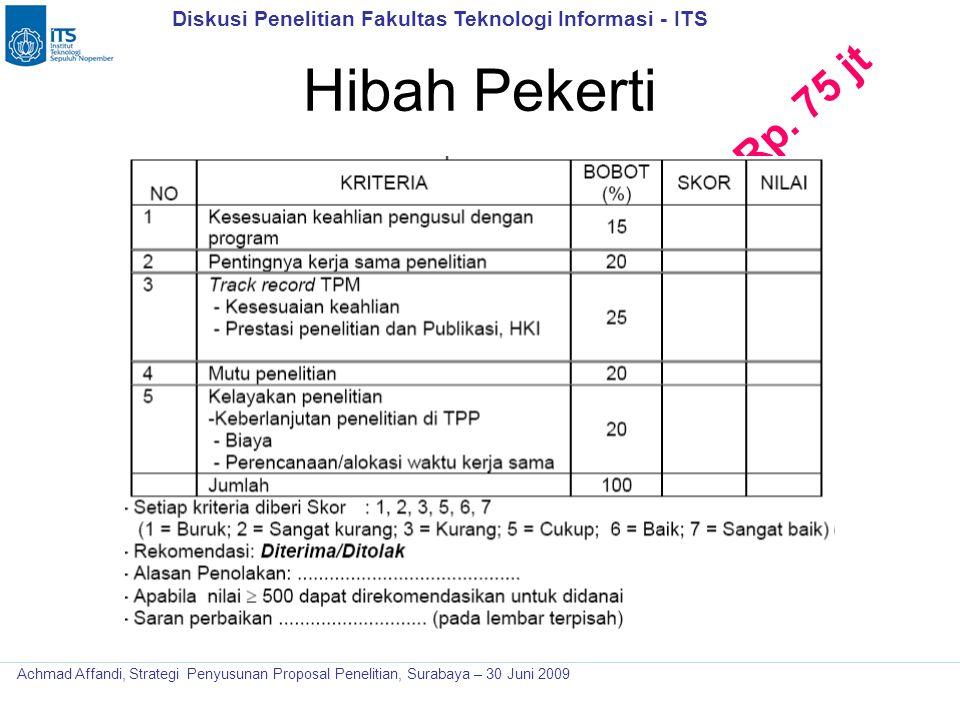 Diskusi Penelitian Fakultas Teknologi Informasi - ITS Achmad Affandi, Strategi Penyusunan Proposal Penelitian, Surabaya – 30 Juni 2009 Hibah Pekerti R
