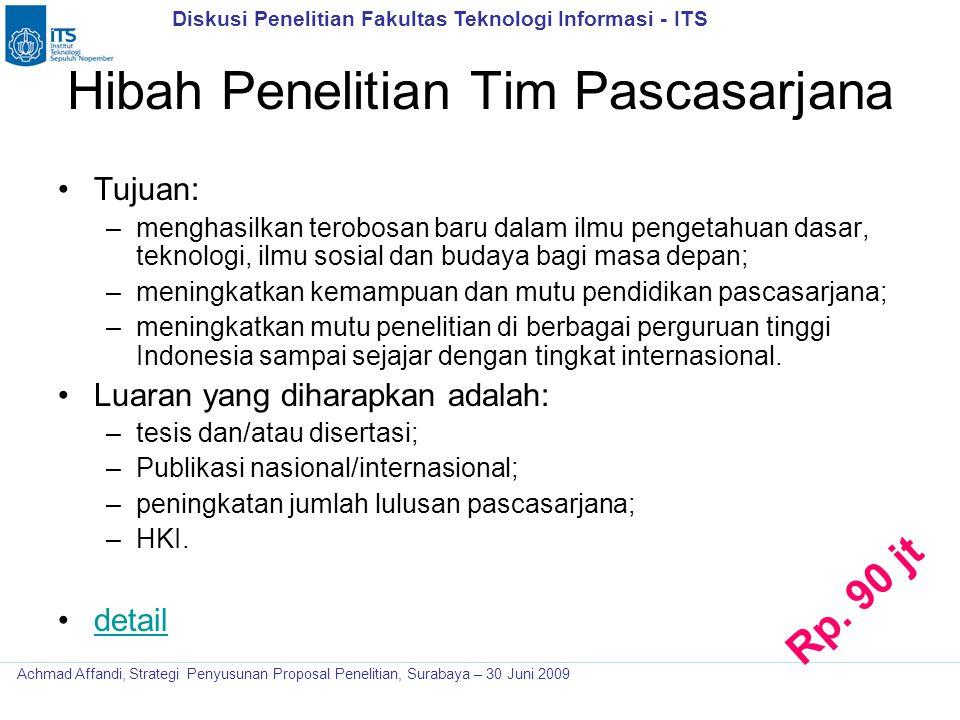Diskusi Penelitian Fakultas Teknologi Informasi - ITS Achmad Affandi, Strategi Penyusunan Proposal Penelitian, Surabaya – 30 Juni 2009 Hibah Penelitia