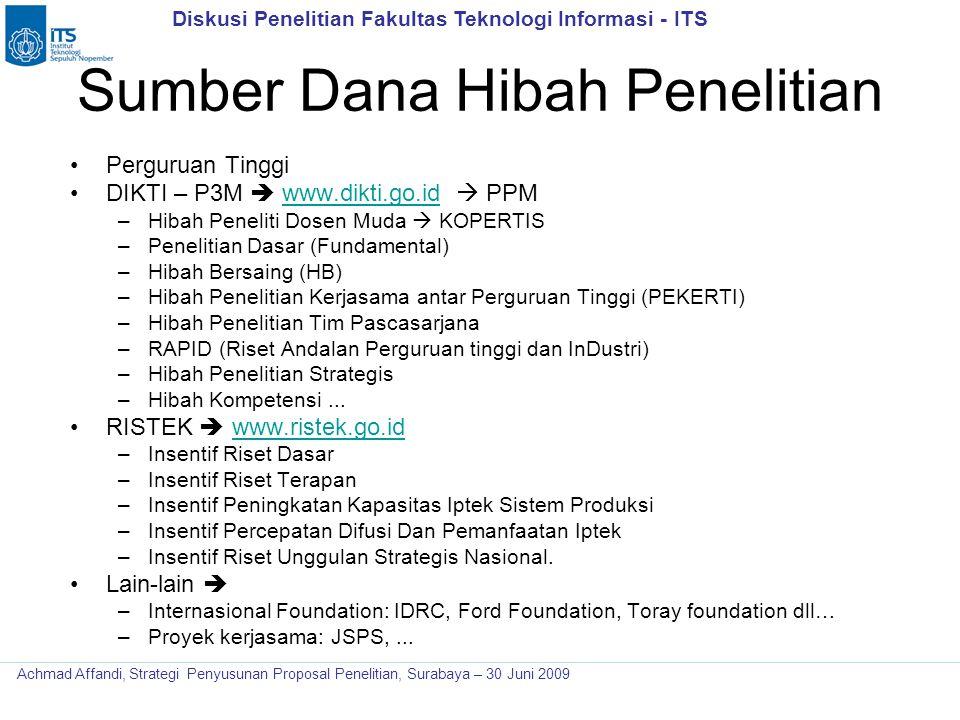 Diskusi Penelitian Fakultas Teknologi Informasi - ITS Achmad Affandi, Strategi Penyusunan Proposal Penelitian, Surabaya – 30 Juni 2009 Sumber Dana Hib