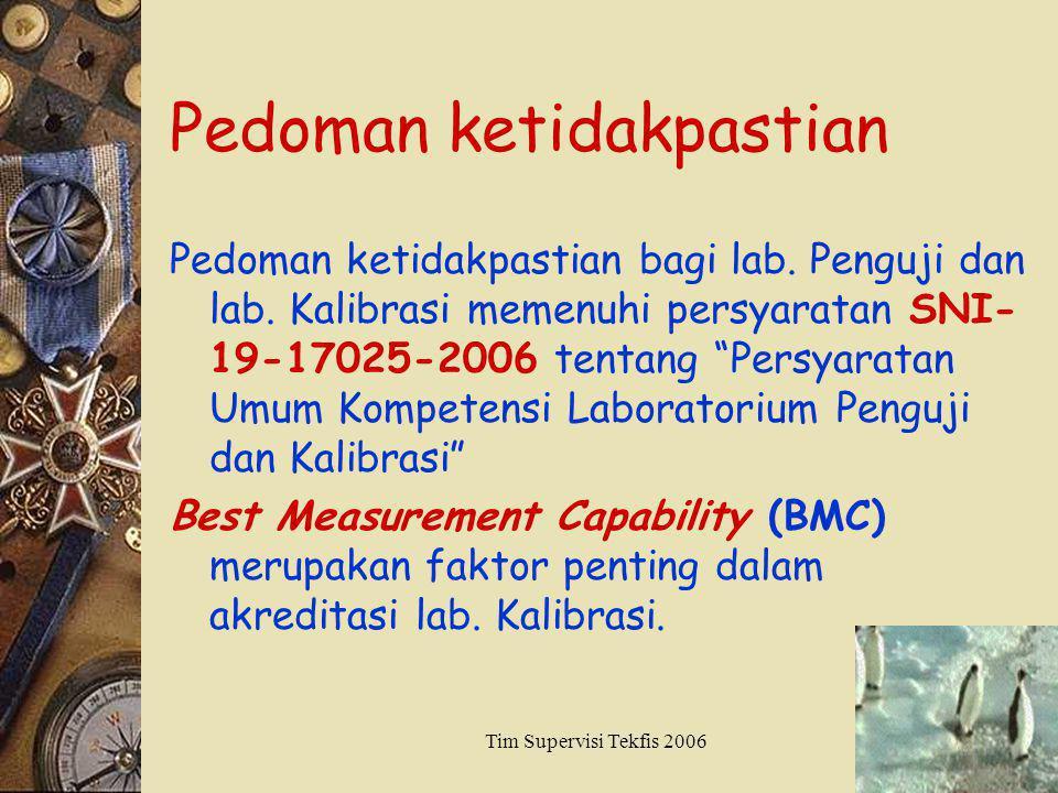 Tim Supervisi Tekfis 20065 Pedoman ketidakpastian Pedoman ketidakpastian bagi lab. Penguji dan lab. Kalibrasi memenuhi persyaratan SNI- 19-17025-2006