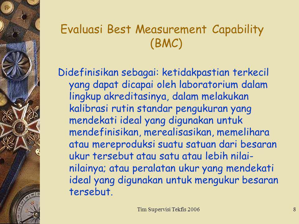 Tim Supervisi Tekfis 20068 Evaluasi Best Measurement Capability (BMC) Didefinisikan sebagai: ketidakpastian terkecil yang dapat dicapai oleh laborator