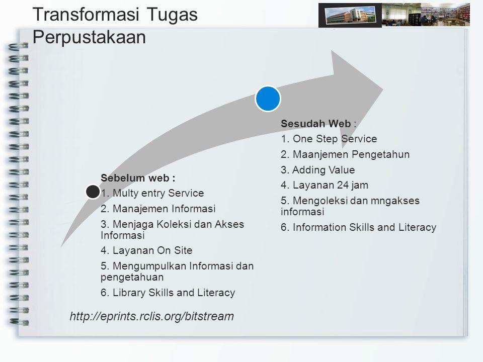 Sebelum web : 1. Multy entry Service 2. Manajemen Informasi 3.