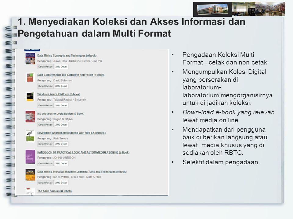1. Menyediakan Koleksi dan Akses Informasi dan Pengetahuan dalam Multi Format Pengadaan Koleksi Multi Format : cetak dan non cetak Mengumpulkan Kolesi
