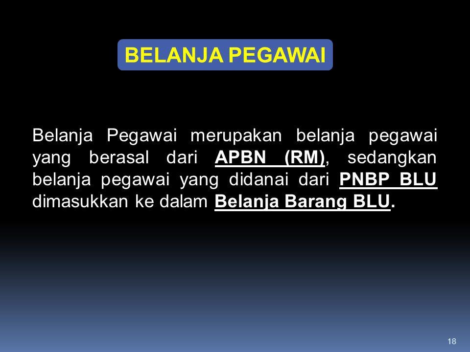 18 BELANJA PEGAWAI Belanja Pegawai merupakan belanja pegawai yang berasal dari APBN (RM), sedangkan belanja pegawai yang didanai dari PNBP BLU dimasuk