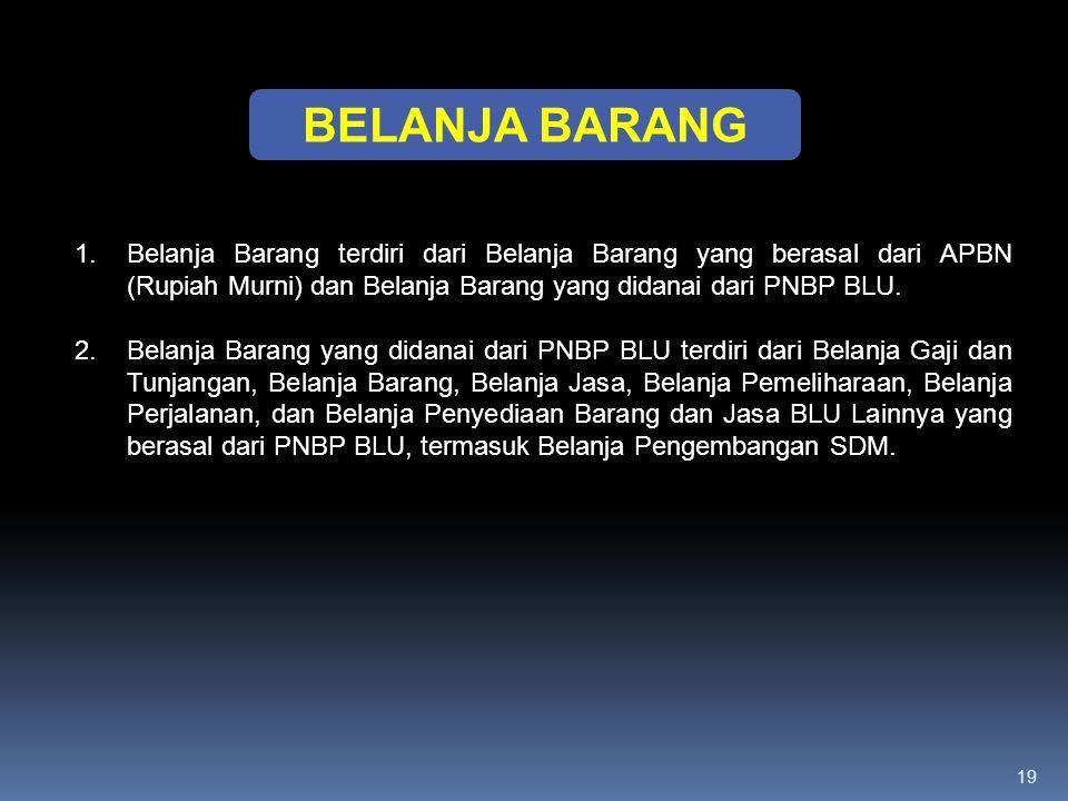 19 BELANJA BARANG 1.Belanja Barang terdiri dari Belanja Barang yang berasal dari APBN (Rupiah Murni) dan Belanja Barang yang didanai dari PNBP BLU. 2.