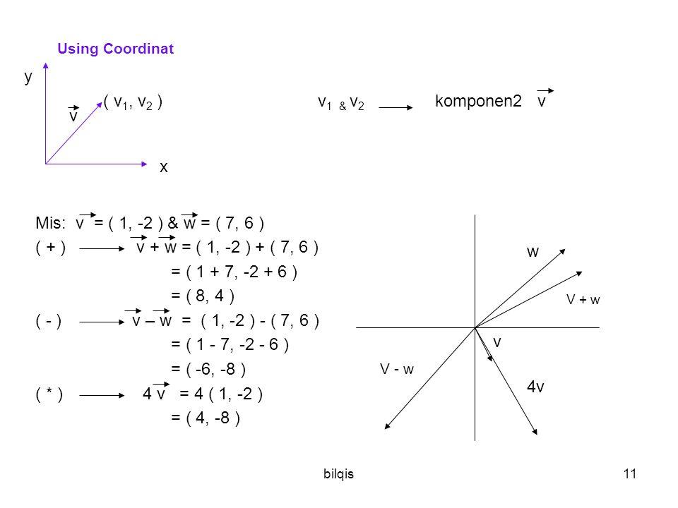 bilqis11 Using Coordinat ( v 1, v 2 ) v 1 & v 2 komponen2 v Mis: v = ( 1, -2 ) & w = ( 7, 6 ) ( + ) v + w = ( 1, -2 ) + ( 7, 6 ) = ( 1 + 7, -2 + 6 ) = ( 8, 4 ) ( - ) v – w = ( 1, -2 ) - ( 7, 6 ) = ( 1 - 7, -2 - 6 ) = ( -6, -8 ) ( * ) 4 v = 4 ( 1, -2 ) = ( 4, -8 ) y x v w v V + w 4v V - w