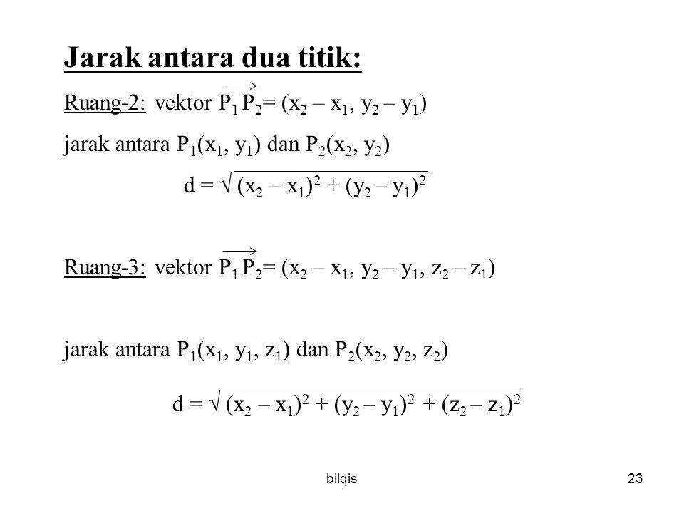 bilqis23 Jarak antara dua titik: Ruang-2: vektor P 1 P 2 = (x 2 – x 1, y 2 – y 1 ) jarak antara P 1 (x 1, y 1 ) dan P 2 (x 2, y 2 ) d =  (x 2 – x 1 ) 2 + (y 2 – y 1 ) 2 Ruang-3: vektor P 1 P 2 = (x 2 – x 1, y 2 – y 1, z 2 – z 1 ) jarak antara P 1 (x 1, y 1, z 1 ) dan P 2 (x 2, y 2, z 2 ) d =  (x 2 – x 1 ) 2 + (y 2 – y 1 ) 2 + (z 2 – z 1 ) 2