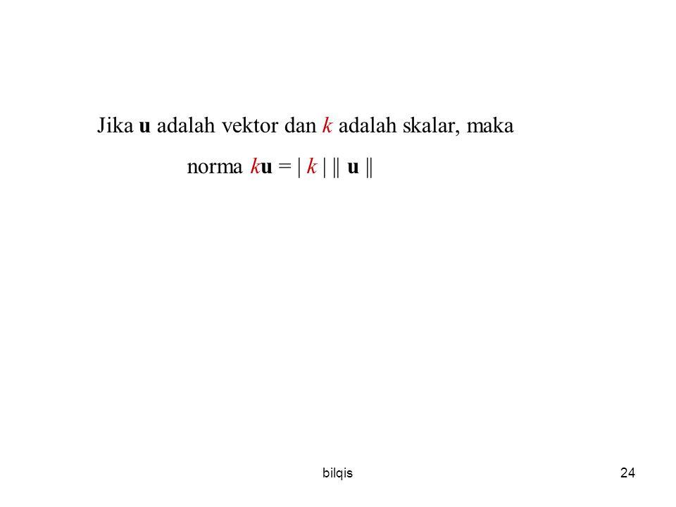 bilqis24 Jika u adalah vektor dan k adalah skalar, maka norma ku = | k | || u ||