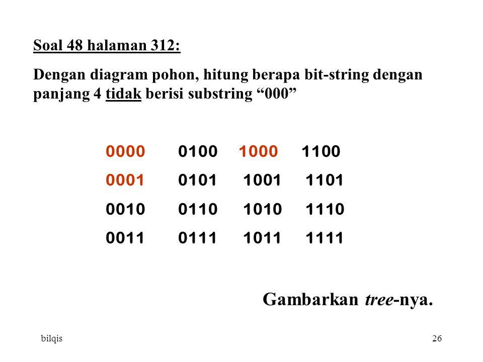 bilqis26 Soal 48 halaman 312: Dengan diagram pohon, hitung berapa bit-string dengan panjang 4 tidak berisi substring 000 00000100 1000 1100 00010101 1001 1101 00100110 1010 1110 00110111 1011 1111 Gambarkan tree-nya.