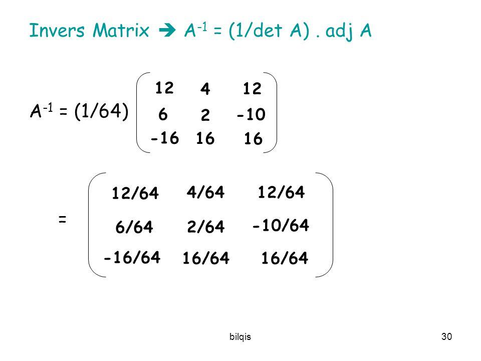bilqis29 Teorema 2.4.2.: Jika A matriks invertibel, maka A –1 = adj(A) 1 det(A)