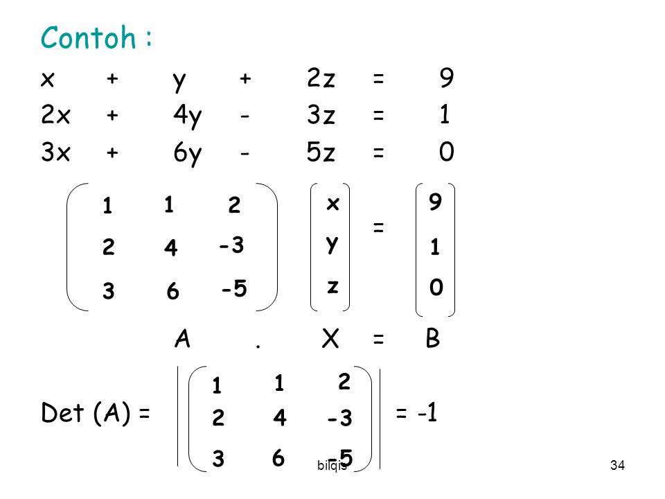 bilqis33 ATURAN CRAMER :  A. X = B A j  mengganti kolom ke j dengan matrix B det(A 1 ) det(A 2 ) det(A n ) x 1 =, x 2 = …, x n = det(A) det(A) det(A