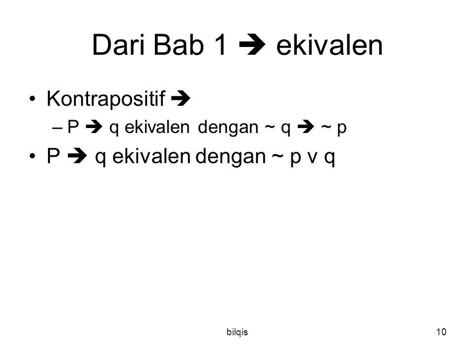 bilqis10 Dari Bab 1  ekivalen Kontrapositif  –P  q ekivalen dengan ~ q  ~ p P  q ekivalen dengan ~ p v q