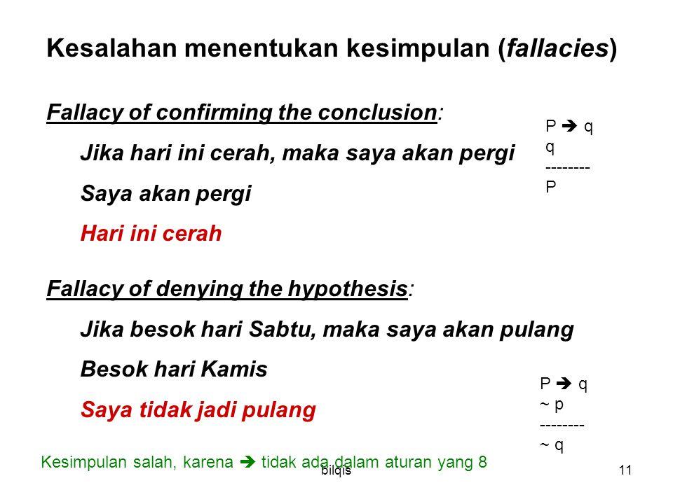 bilqis11 Kesalahan menentukan kesimpulan (fallacies) Fallacy of confirming the conclusion: Jika hari ini cerah, maka saya akan pergi Saya akan pergi H