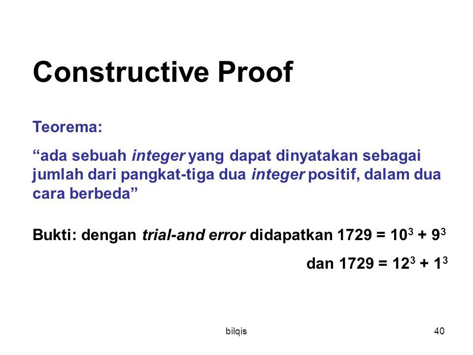 """bilqis40 Constructive Proof Teorema: """"ada sebuah integer yang dapat dinyatakan sebagai jumlah dari pangkat-tiga dua integer positif, dalam dua cara be"""