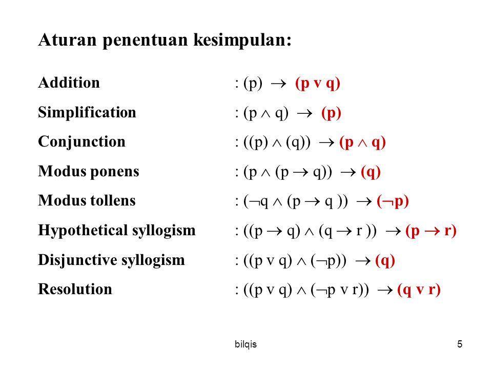 bilqis5 Aturan penentuan kesimpulan: Addition : (p)  (p v q) Simplification: (p  q)  (p) Conjunction: ((p)  (q))  (p  q) Modus ponens: (p  (p  q))  (q) Modus tollens: (  q  (p  q ))  (  p) Hypothetical syllogism: ((p  q)  (q  r ))  (p  r) Disjunctive syllogism: ((p v q)  (  p))  (q) Resolution: ((p v q)  (  p v r))  (q v r)