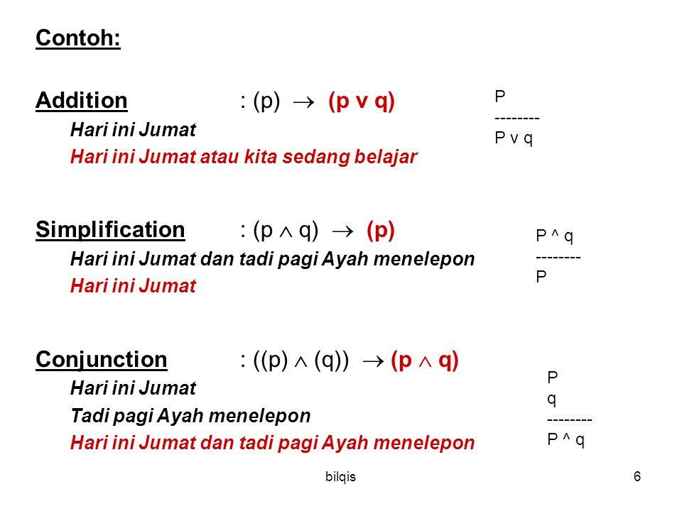 bilqis6 Contoh: Addition : (p)  (p v q) Hari ini Jumat Hari ini Jumat atau kita sedang belajar Simplification: (p  q)  (p) Hari ini Jumat dan tadi