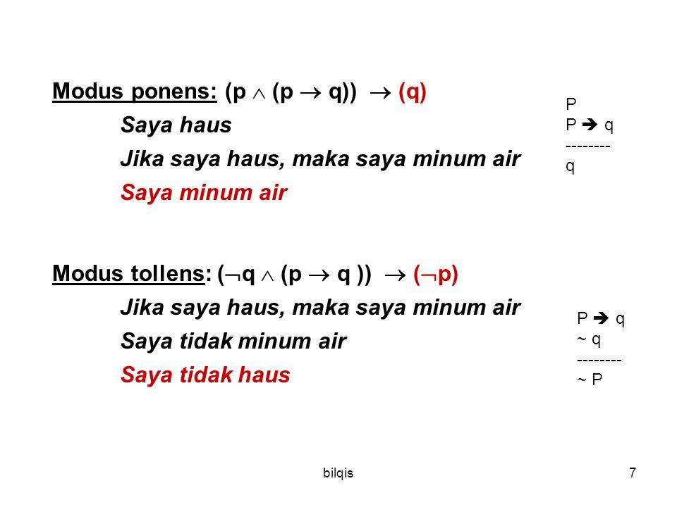 bilqis7 Modus ponens: (p  (p  q))  (q) Saya haus Jika saya haus, maka saya minum air Saya minum air Modus tollens: (  q  (p  q ))  (  p) Jika saya haus, maka saya minum air Saya tidak minum air Saya tidak haus P P  q -------- q P  q ~ q -------- ~ P