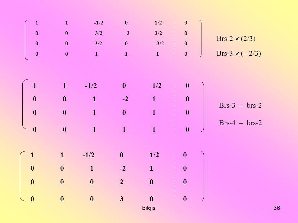 bilqis36 11 -1/201/20 003/2-33/20 00 -3/20-3/20 0011 10 11 -1/201/2 0 001-21 0 00101 0 00111 0 11 -1/201/2 0 001-21 0 00020 0 00030 0 Brs-2  (2/3) Brs-3  (– 2/3) Brs-3 – brs-2 Brs-4 – brs-2