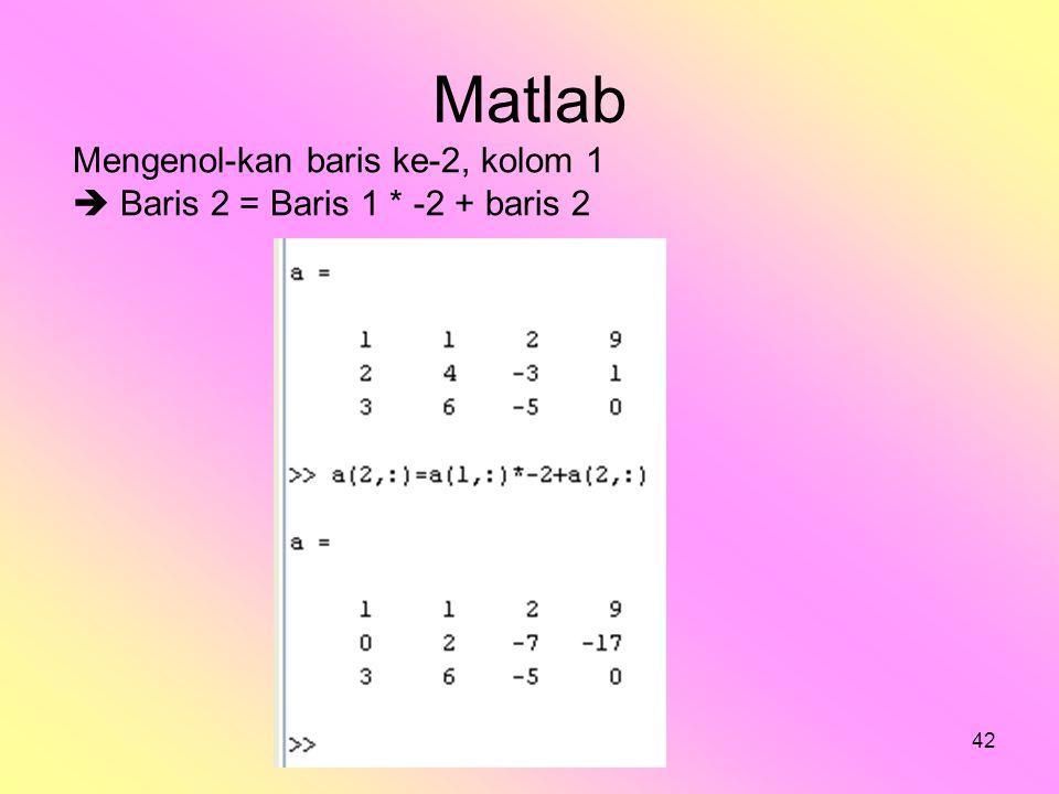 bilqis42 Matlab Mengenol-kan baris ke-2, kolom 1  Baris 2 = Baris 1 * -2 + baris 2