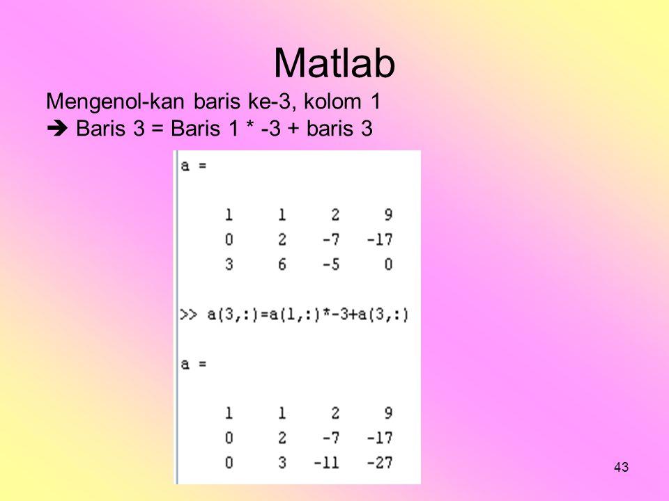 bilqis43 Matlab Mengenol-kan baris ke-3, kolom 1  Baris 3 = Baris 1 * -3 + baris 3