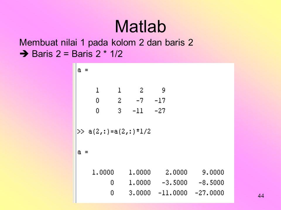 bilqis44 Matlab Membuat nilai 1 pada kolom 2 dan baris 2  Baris 2 = Baris 2 * 1/2