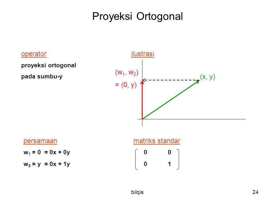 bilqis24 Proyeksi Ortogonal operator ilustrasi proyeksi ortogonal pada sumbu-y persamaanmatriks standar w 1 = 0 = 0x + 0y 0 0 w 2 = y = 0x + 1y 0 1 (x, y) (w 1, w 2 ) = (0, y)