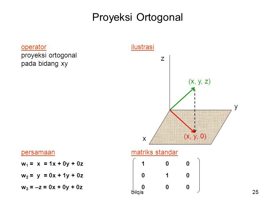 bilqis25 Proyeksi Ortogonal operator ilustrasi proyeksi ortogonal pada bidang xy persamaanmatriks standar w 1 = x = 1x + 0y + 0z 1 00 w 2 = y = 0x + 1y + 0z 0 10 w 3 = –z = 0x + 0y + 0z 0 0 0 y x z (x, y, z) (x, y, 0)