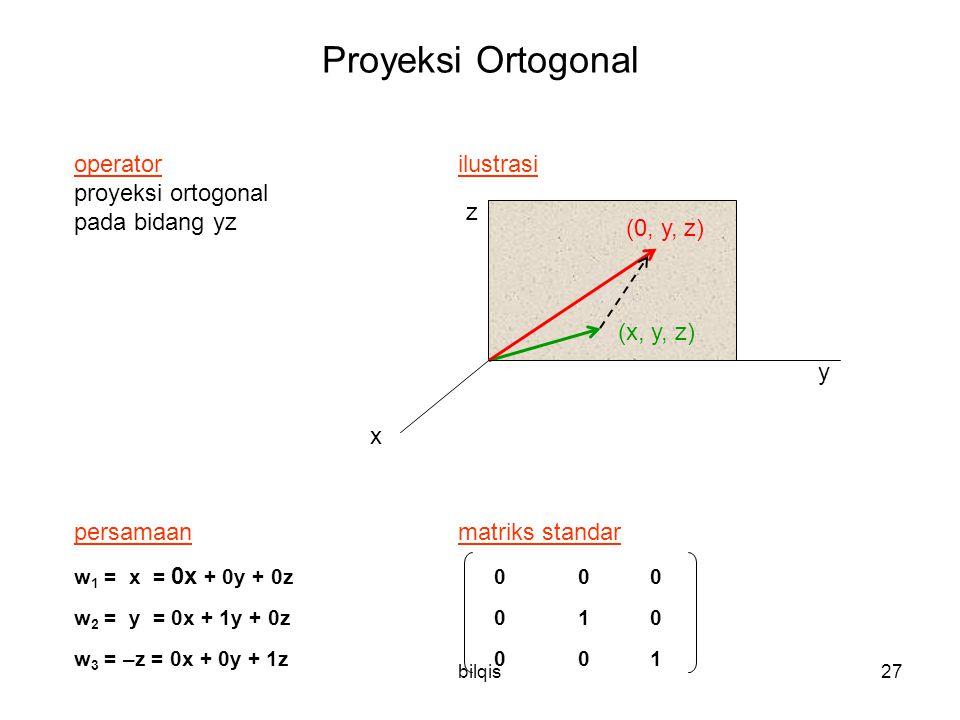 bilqis27 Proyeksi Ortogonal operator ilustrasi proyeksi ortogonal pada bidang yz persamaanmatriks standar w 1 = x = 0x + 0y + 0z 0 00 w 2 = y = 0x + 1y + 0z 0 10 w 3 = –z = 0x + 0y + 1z 0 0 1 y x z (x, y, z) (0, y, z)