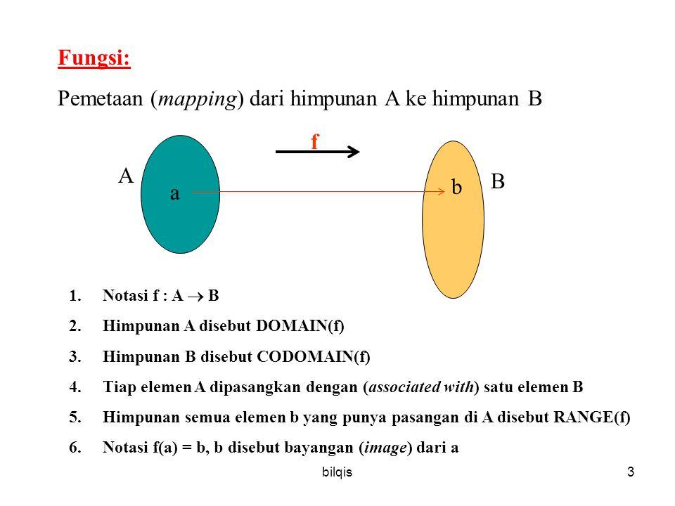 bilqis3 Fungsi: Pemetaan (mapping) dari himpunan A ke himpunan B 1.Notasi f : A  B 2.Himpunan A disebut DOMAIN(f) 3.Himpunan B disebut CODOMAIN(f) 4.Tiap elemen A dipasangkan dengan (associated with) satu elemen B 5.Himpunan semua elemen b yang punya pasangan di A disebut RANGE(f) 6.Notasi f(a) = b, b disebut bayangan (image) dari a a b f A B