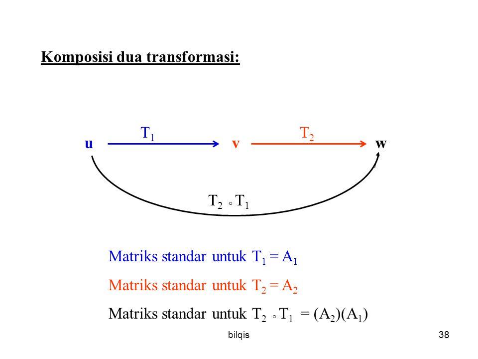bilqis38 Komposisi dua transformasi: uv w T1T1 T2T2 T 2 ° T 1 Matriks standar untuk T 1 = A 1 Matriks standar untuk T 2 = A 2 Matriks standar untuk T 2 ° T 1 = (A 2 )(A 1 )