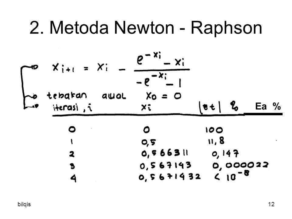 bilqis12 2. Metoda Newton - Raphson Ea %