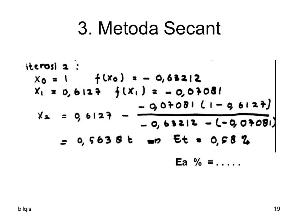 bilqis19 3. Metoda Secant Ea % =.....