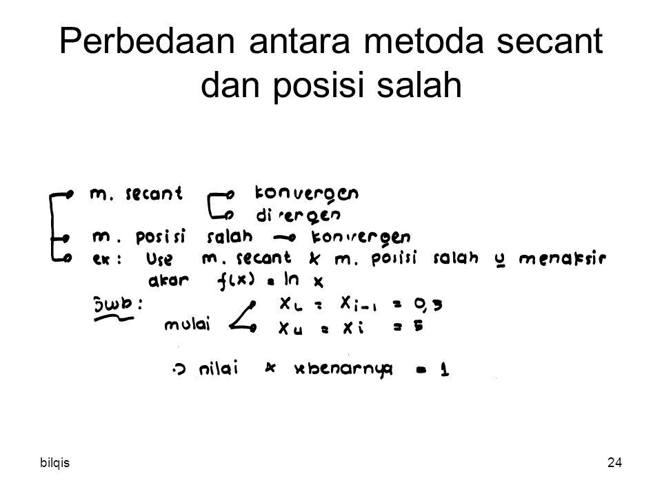 bilqis24 Perbedaan antara metoda secant dan posisi salah