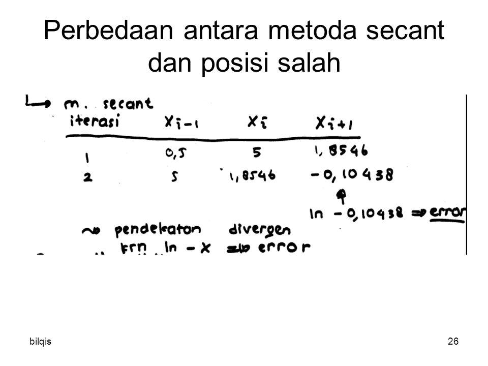 bilqis26 Perbedaan antara metoda secant dan posisi salah