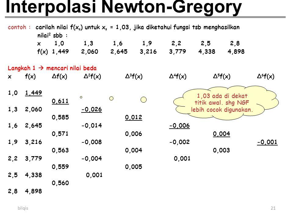 bilqis21 Interpolasi Newton-Gregory contoh : carilah nilai f(x s ) untuk x s = 1,03, jika diketahui fungsi tsb menghasilkan nilai 2 sbb : x 1,0 1,3 1,