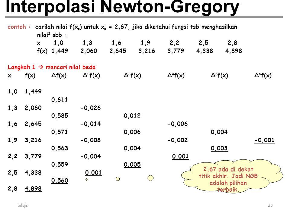 bilqis23 Interpolasi Newton-Gregory contoh : carilah nilai f(x s ) untuk x s = 2,67, jika diketahui fungsi tsb menghasilkan nilai 2 sbb : x 1,0 1,3 1,