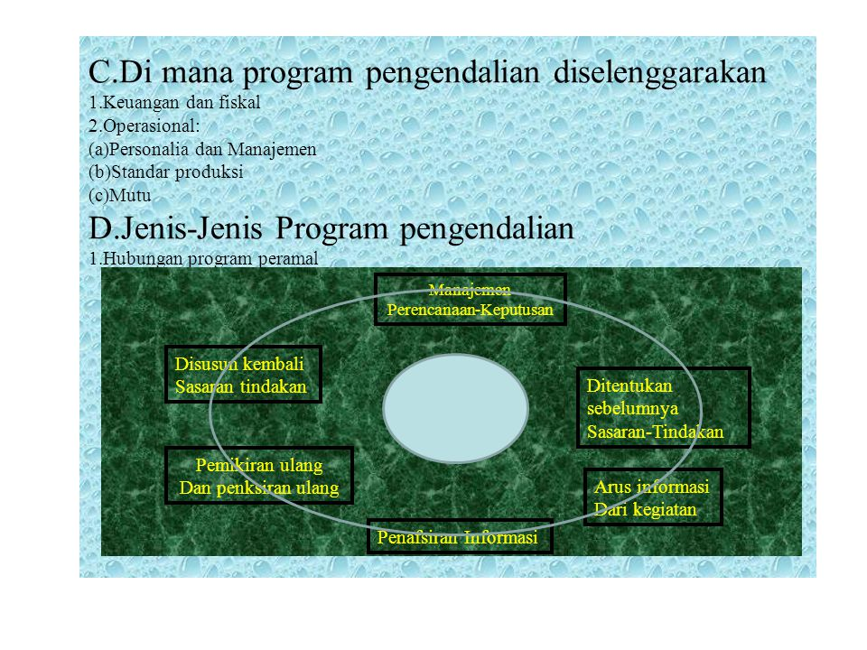 C.Di mana program pengendalian diselenggarakan 1.Keuangan dan fiskal 2.Operasional: (a)Personalia dan Manajemen (b)Standar produksi (c)Mutu D.Jenis-Je
