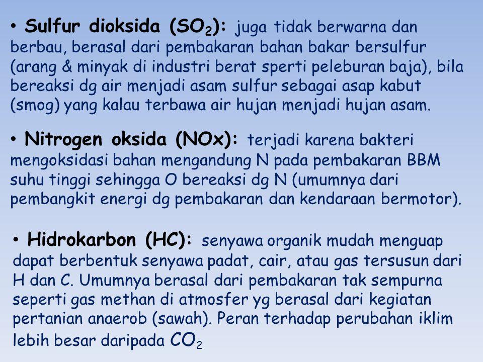 Hidrokarbon (HC): senyawa organik mudah menguap dapat berbentuk senyawa padat, cair, atau gas tersusun dari H dan C. Umumnya berasal dari pembakaran t