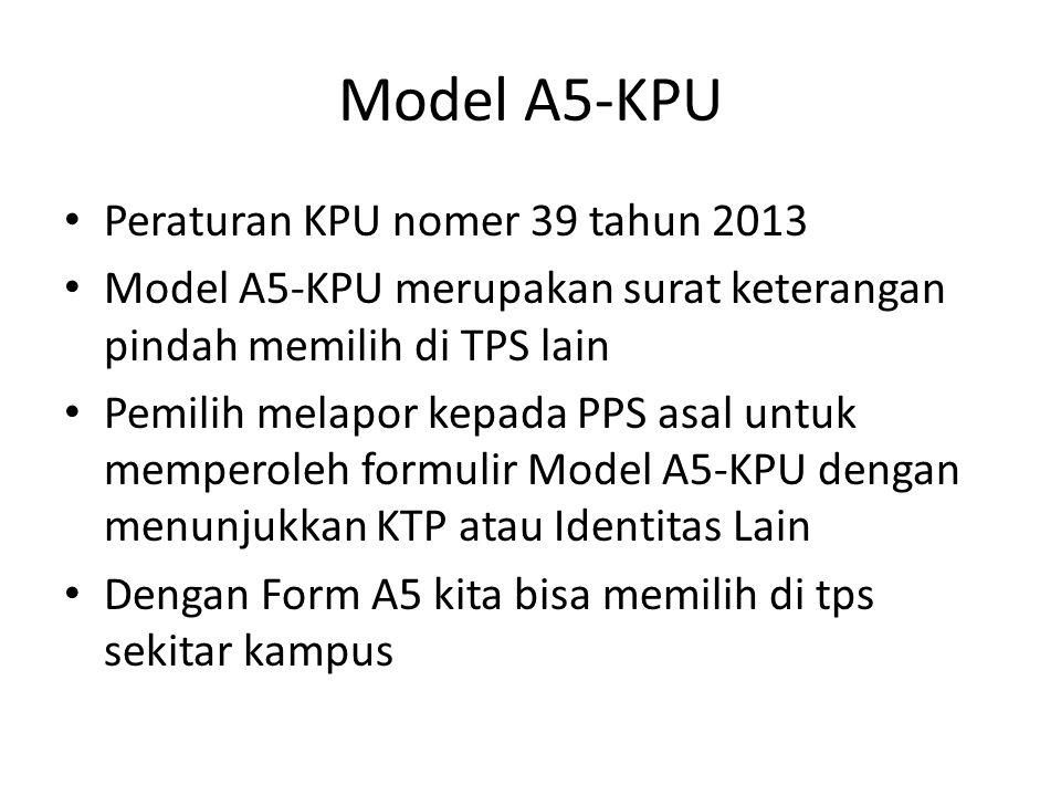Model A5-KPU Peraturan KPU nomer 39 tahun 2013 Model A5-KPU merupakan surat keterangan pindah memilih di TPS lain Pemilih melapor kepada PPS asal untuk memperoleh formulir Model A5-KPU dengan menunjukkan KTP atau Identitas Lain Dengan Form A5 kita bisa memilih di tps sekitar kampus