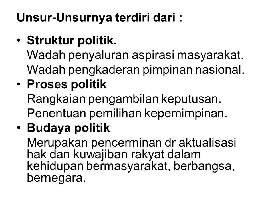 Unsur-Unsurnya terdiri dari : Struktur politik. Wadah penyaluran aspirasi masyarakat. Wadah pengkaderan pimpinan nasional. Proses politik Rangkaian pe