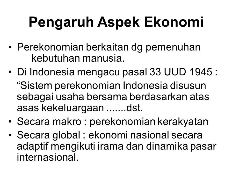 """Pengaruh Aspek Ekonomi Perekonomian berkaitan dg pemenuhan kebutuhan manusia. Di Indonesia mengacu pasal 33 UUD 1945 : """"Sistem perekonomian Indonesia"""