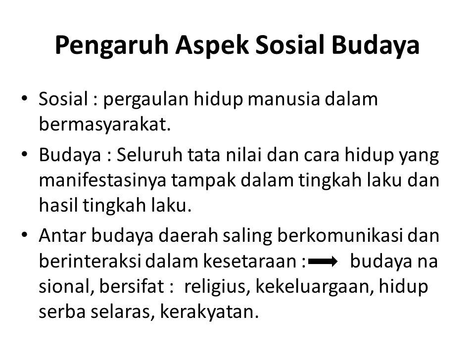 Pengaruh Aspek Sosial Budaya Sosial : pergaulan hidup manusia dalam bermasyarakat. Budaya : Seluruh tata nilai dan cara hidup yang manifestasinya tamp