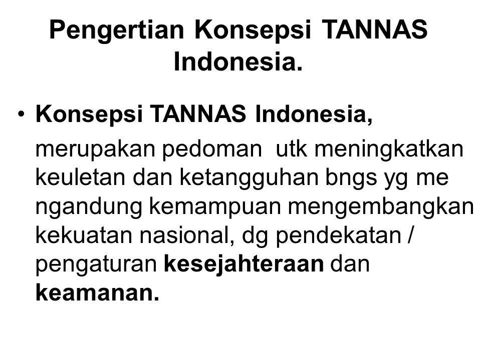 Pengertian Konsepsi TANNAS Indonesia. Konsepsi TANNAS Indonesia, merupakan pedoman utk meningkatkan keuletan dan ketangguhan bngs yg me ngandung kemam