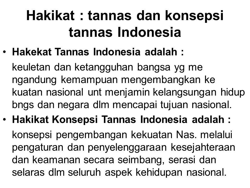 Hakikat : tannas dan konsepsi tannas Indonesia Hakekat Tannas Indonesia adalah : keuletan dan ketangguhan bangsa yg me ngandung kemampuan mengembangka