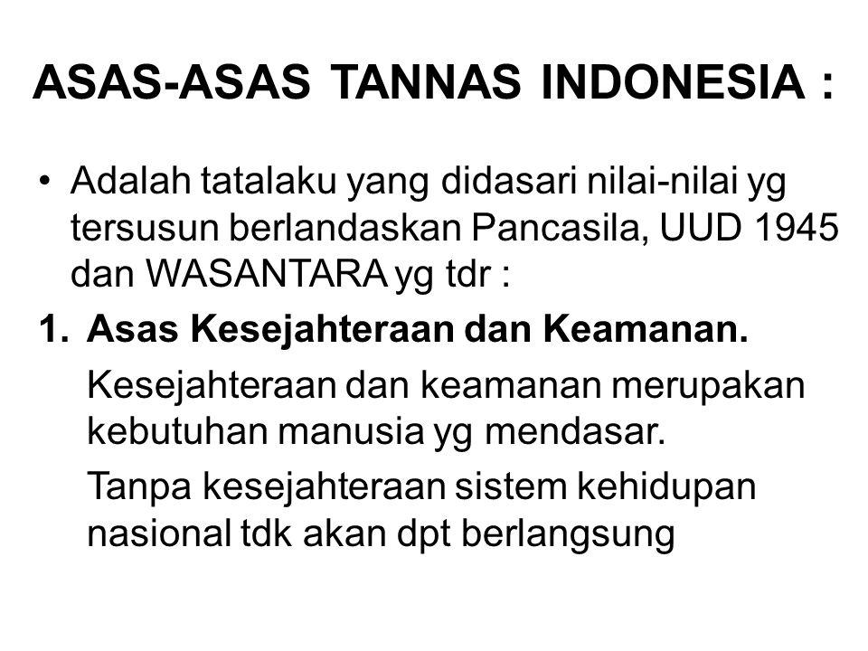 ASAS-ASAS TANNAS INDONESIA : Adalah tatalaku yang didasari nilai-nilai yg tersusun berlandaskan Pancasila, UUD 1945 dan WASANTARA yg tdr : 1.Asas Kese