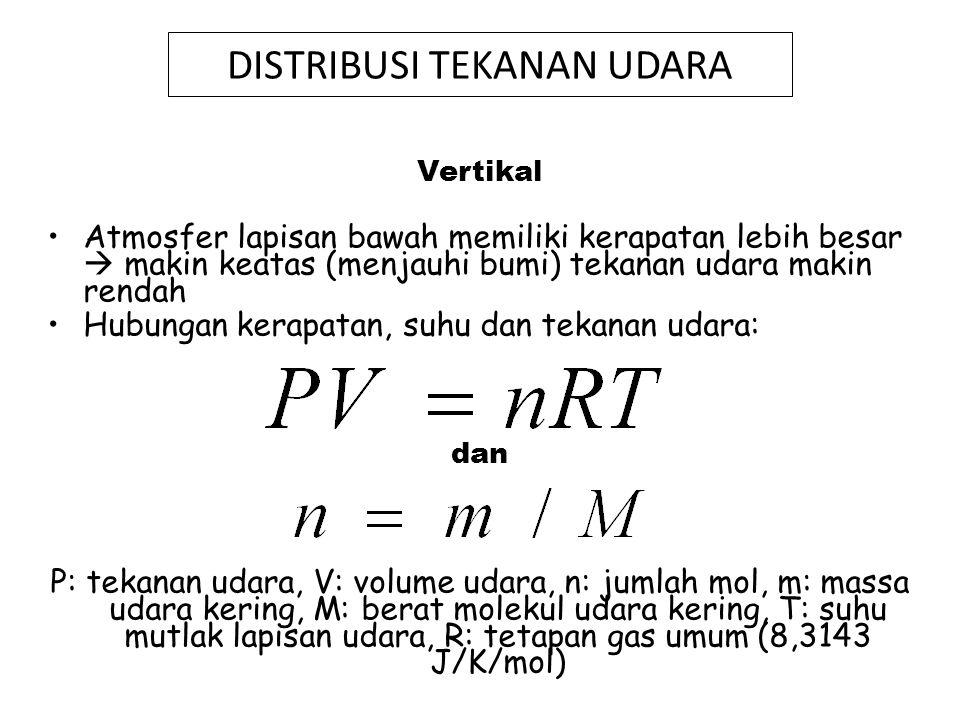 Gas yang dominan di udara adalah N 2 (80%) dan O 2 (20%) sehingga : M = (0,8x2x14) + (0,2x2x16) = 28,8 Dengan memperhitungkan gas-gas yang lain M= 28,97 P = r Ru T Ru : tetapan gas untuk udara kering, besarnya = R/M = 8,3143/28,97 = 287 J/K/kg