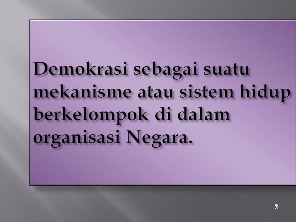 21 Demokrasi sebagai suatu mekanisme atau sistem hidup berkelompok di dalam organisasi Negara.