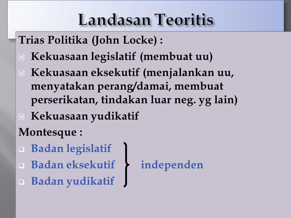 23 Trias Politika (John Locke) :  Kekuasaan legislatif (membuat uu)  Kekuasaan eksekutif (menjalankan uu, menyatakan perang/damai, membuat perserika