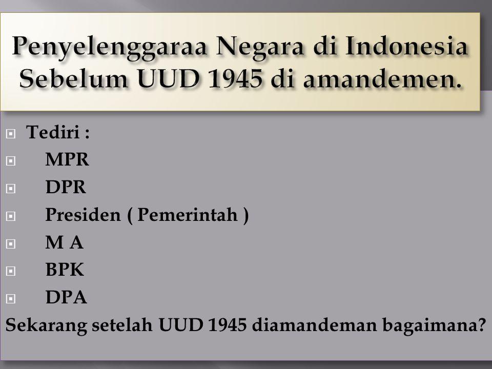 24  Tediri :  MPR  DPR  Presiden ( Pemerintah )  M A  BPK  DPA Sekarang setelah UUD 1945 diamandeman bagaimana?  Tediri :  MPR  DPR  Presid