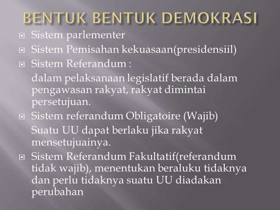  Sistem parlementer  Sistem Pemisahan kekuasaan(presidensiil)  Sistem Referandum : dalam pelaksanaan legislatif berada dalam pengawasan rakyat, rak